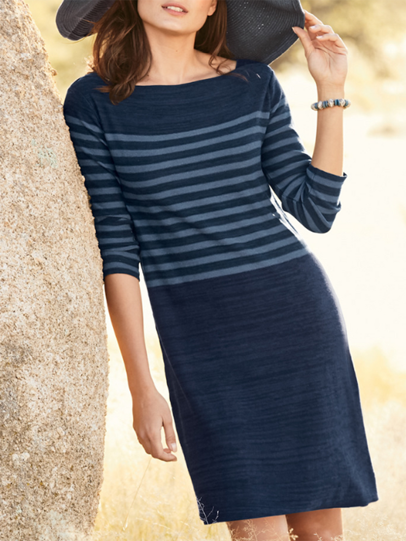 Striped Colorblock Long Sleeve Dress