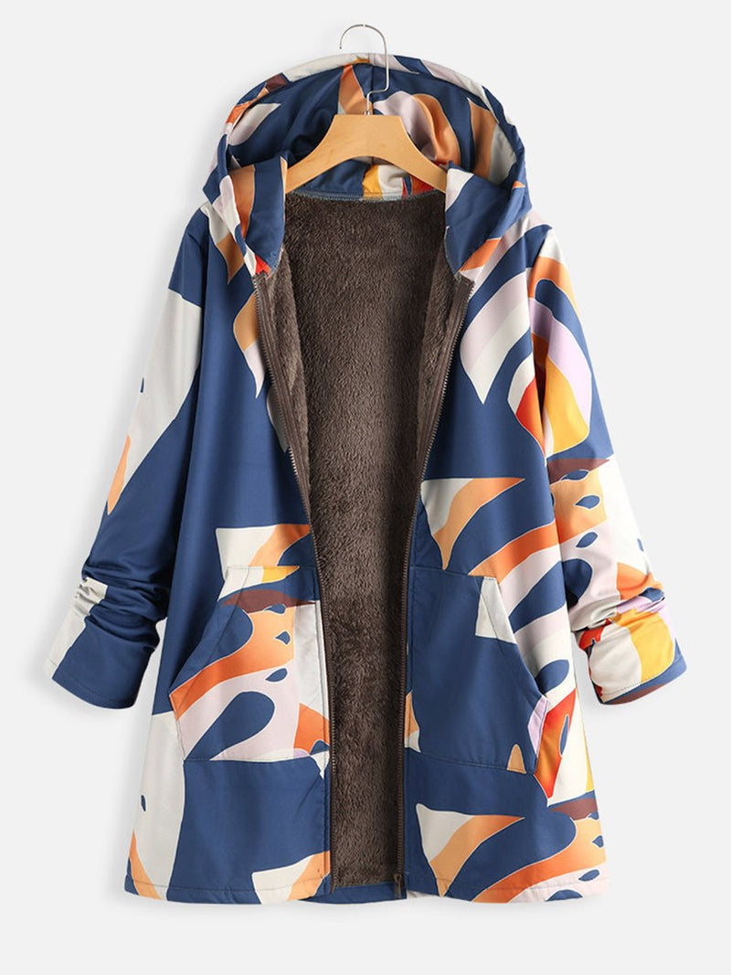 Printed Camouflage and Velvet Hooded Coats