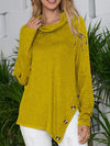 Loose Casual Solid Color Long-Sleeved Button Pile Collar Shirt T-Shirt