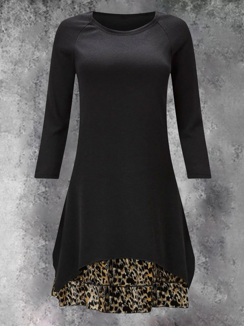 High-necked Leopard Print Stitching Sleeve Long-sleeved Long T-shirt