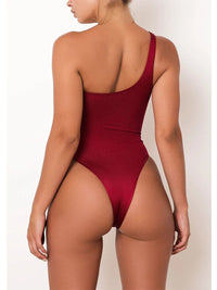 Women'S Sexy One-Shoulder Solid Color One-Piece Swimsuit