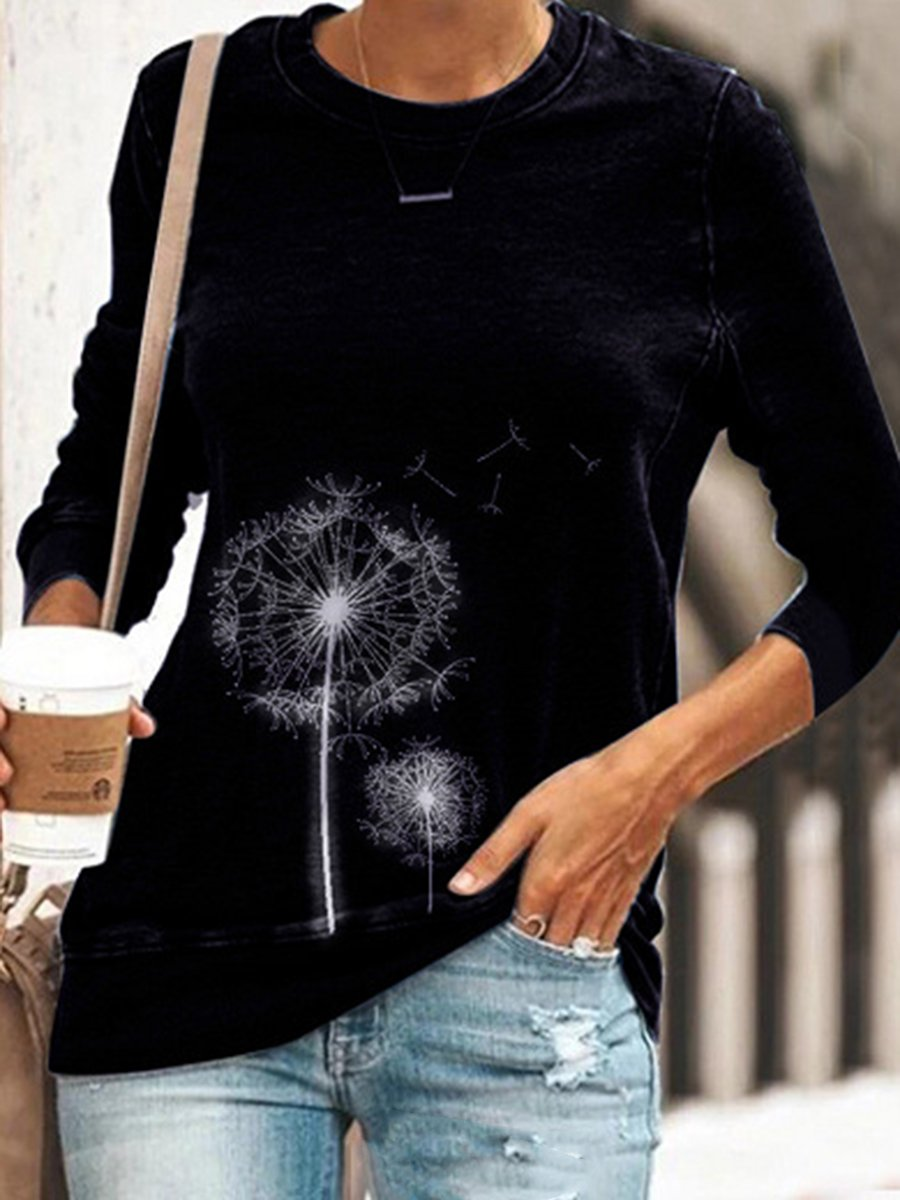 Round Neck Print Long Sleeve Top