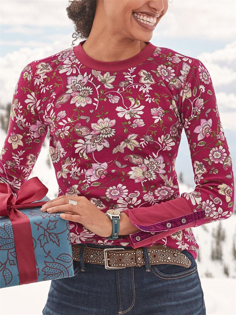 Round Neck Long Sleeve Print Button T-Shirt