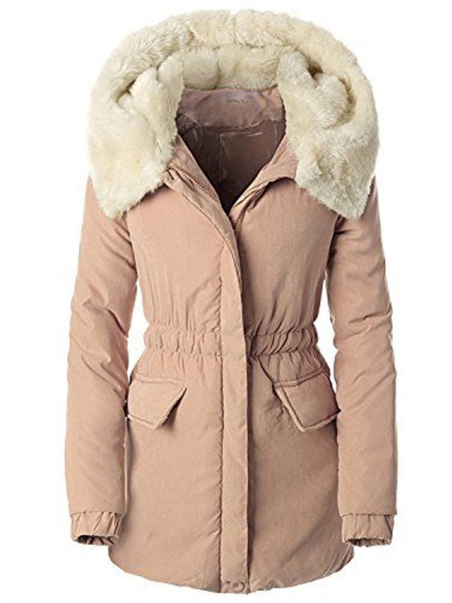 Solid Color Fur Collar Stitching Slim Coats