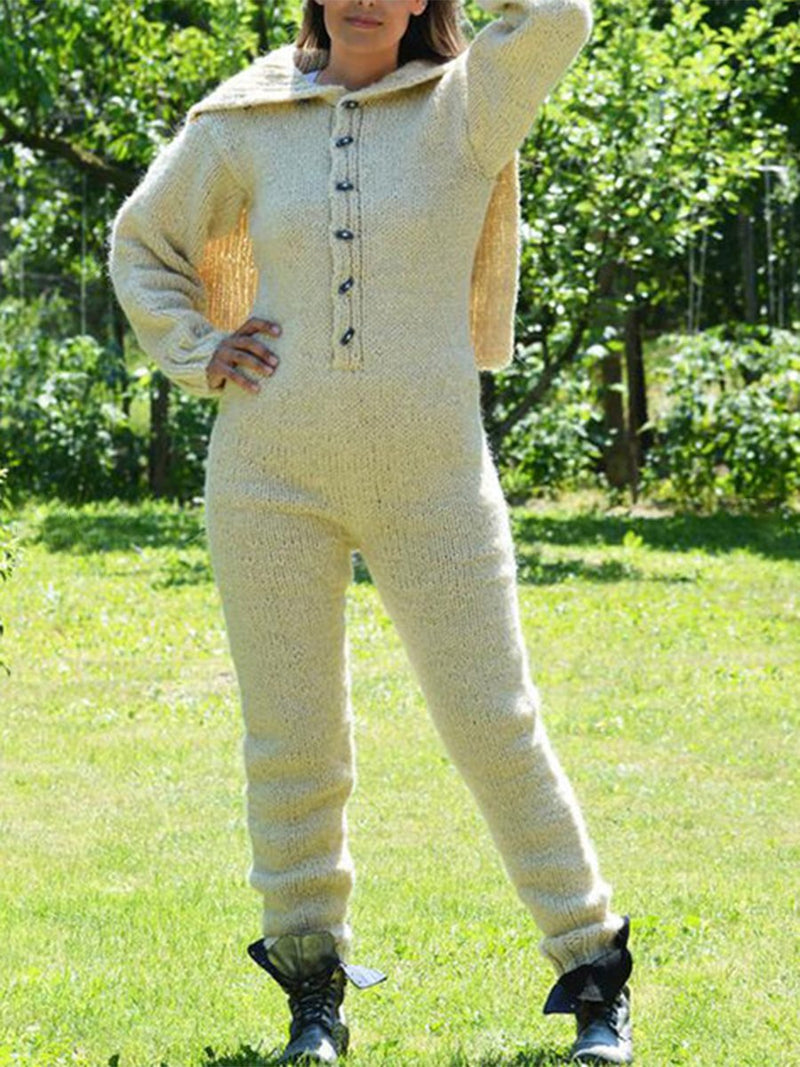 Knit button-up jumpsuit