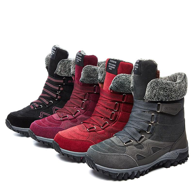 Plus Size Winter Warm Magic Tape Fur Lined Snow Boots