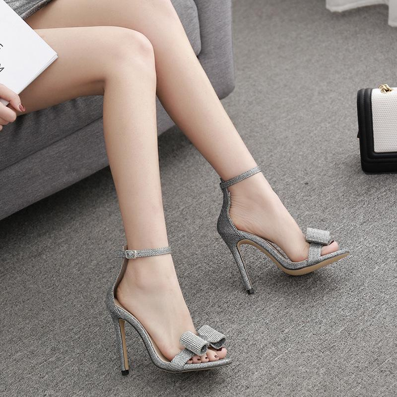 Women Shiny Bowknot Rhinestones Ankle Buckle Peep Toe Pumps