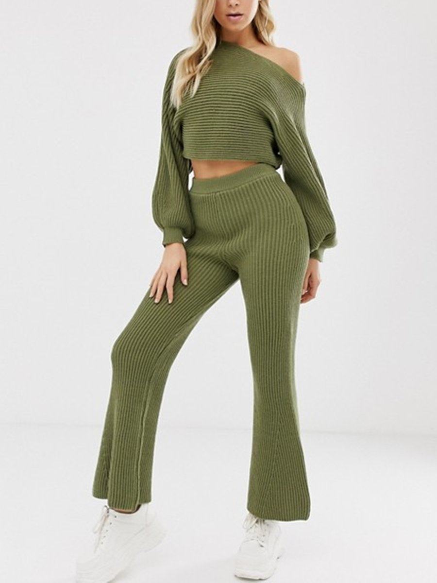 Fashion Casual Loose Lantern Sleeve Top Flare Pants Knitted Suit