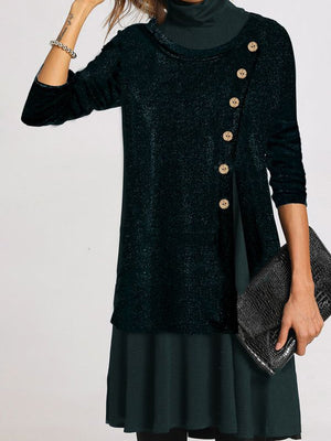 Casual Long Sleeve Stitching Button Dress
