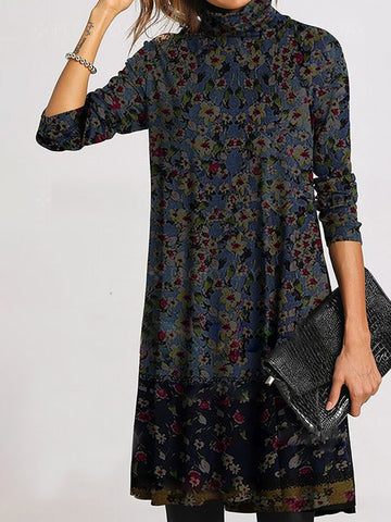 Leisure Loose Long Sleeve High Collar Dress