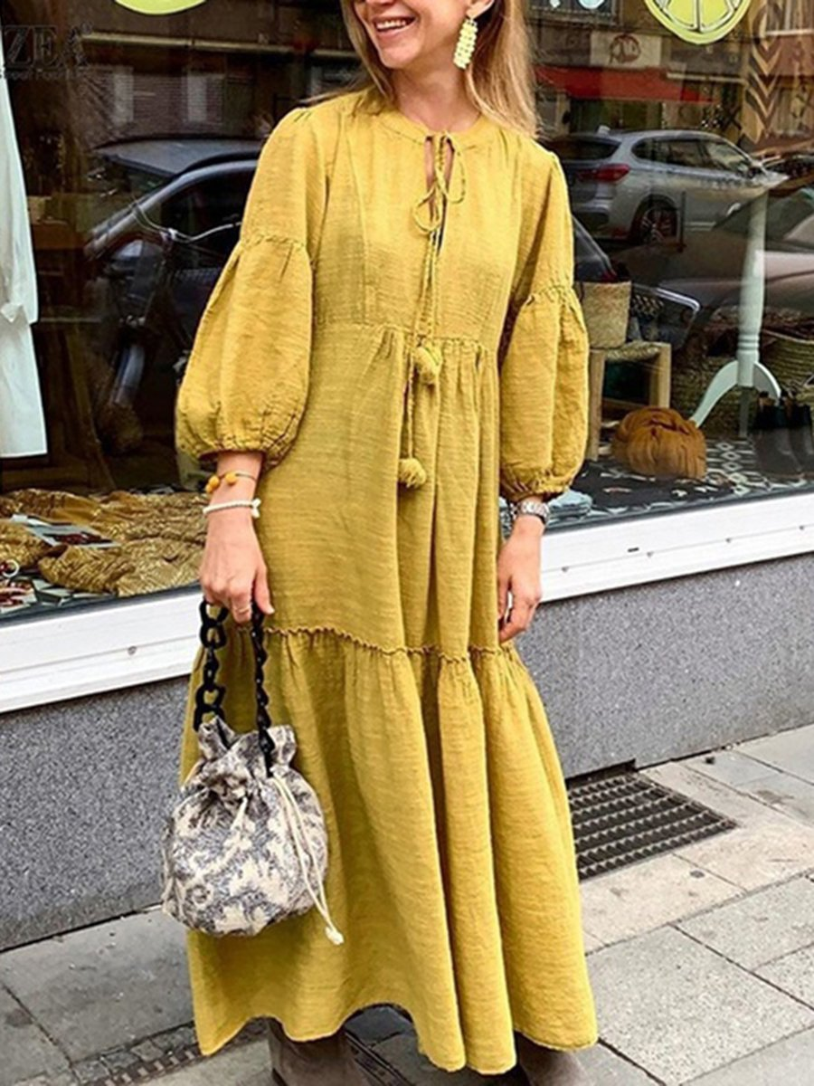 Round Neck Solid Color Loose Long Sleeve Boho Vacation Dress