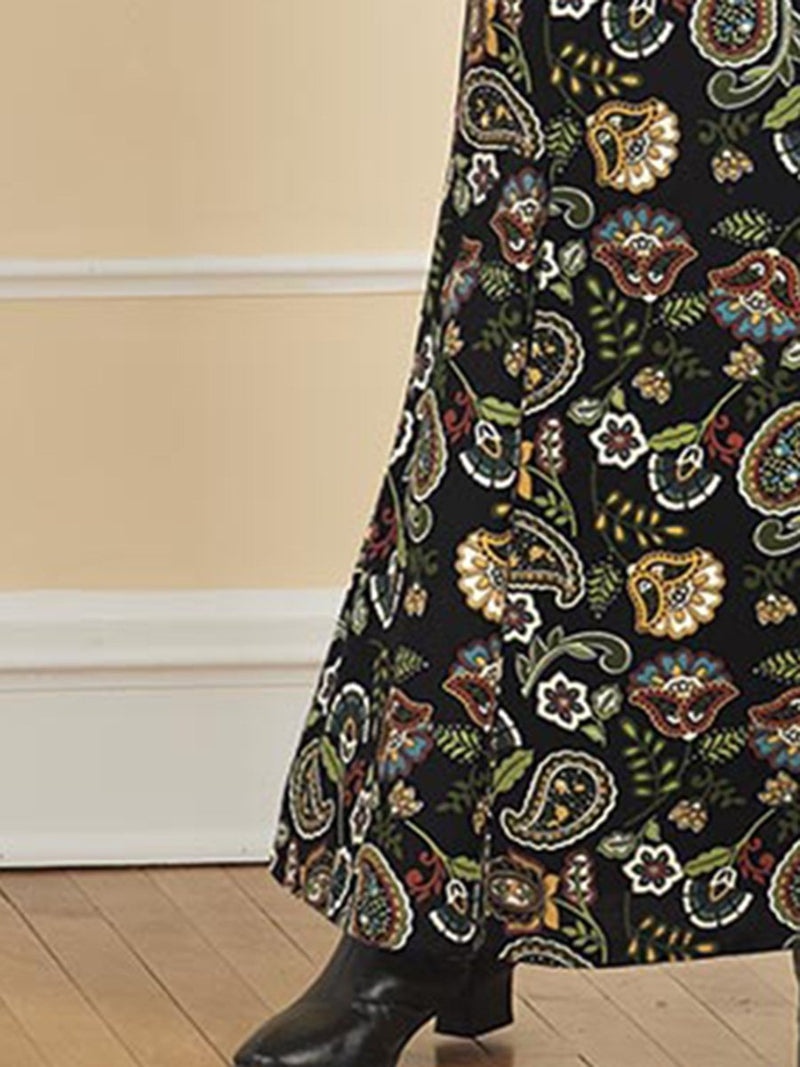 Elegant Vintage Print Long Sleeve Casual Maxi Dress