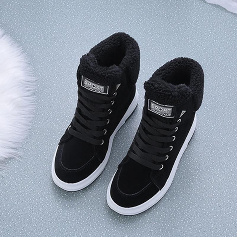 Women Warm Winter Lace Up Fur Lined Athletic Snow Boots