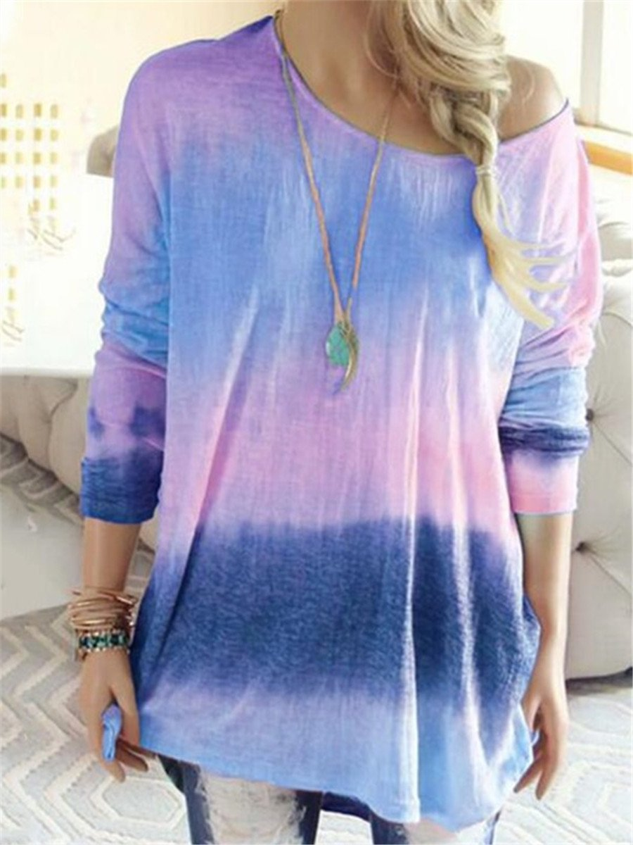 Casual Round Neck Gradient Blouses