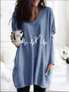 Autumn And Winter Loose Printed Long Sleeve Casual Pocket T-Shirt
