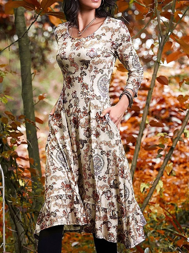 Long Sleeve Vintage Floral Dresses