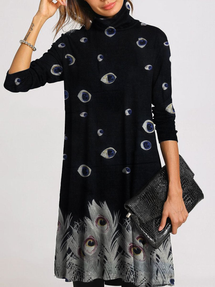 Casual Loose Long Sleeve Turtleneck Feather Print Dress
