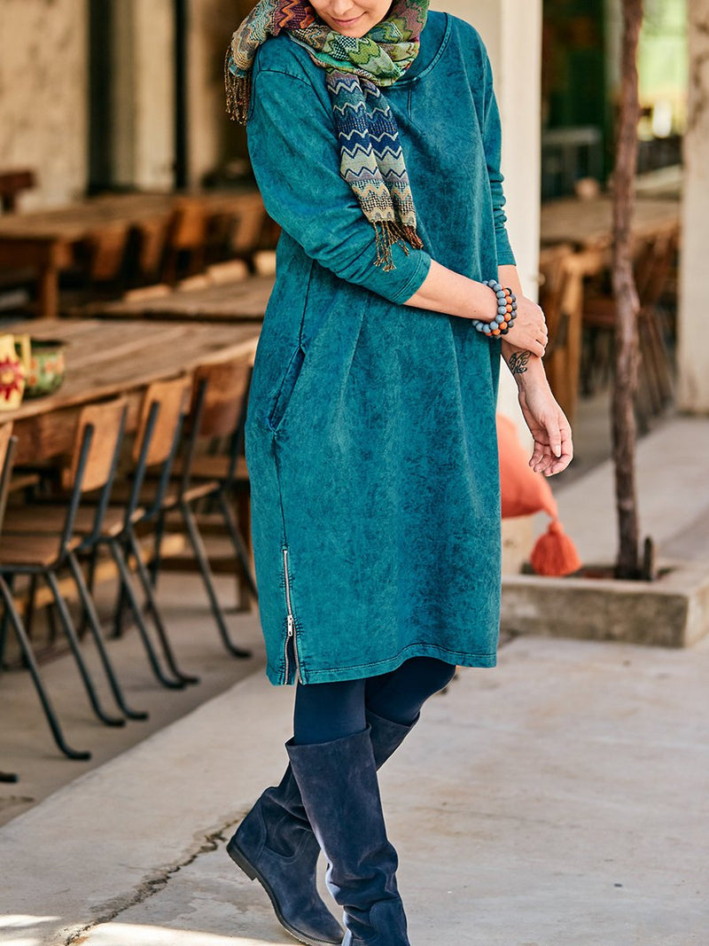 Long Sleeve Loose Zip Dress