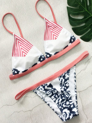 Sexy Striped Print Split Bikini