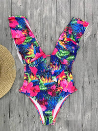 Printed Ruffled One-piece Swimsuit
