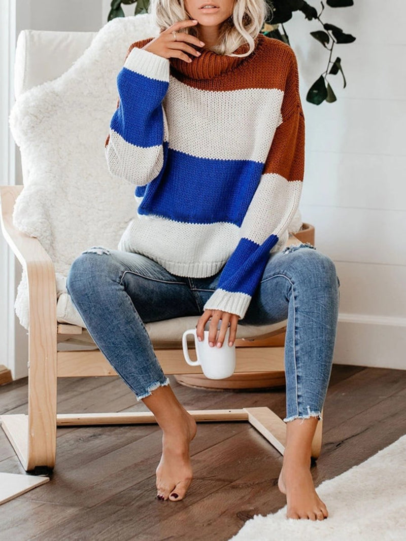 High Neck Thick Striped Long Sleeve Sweater