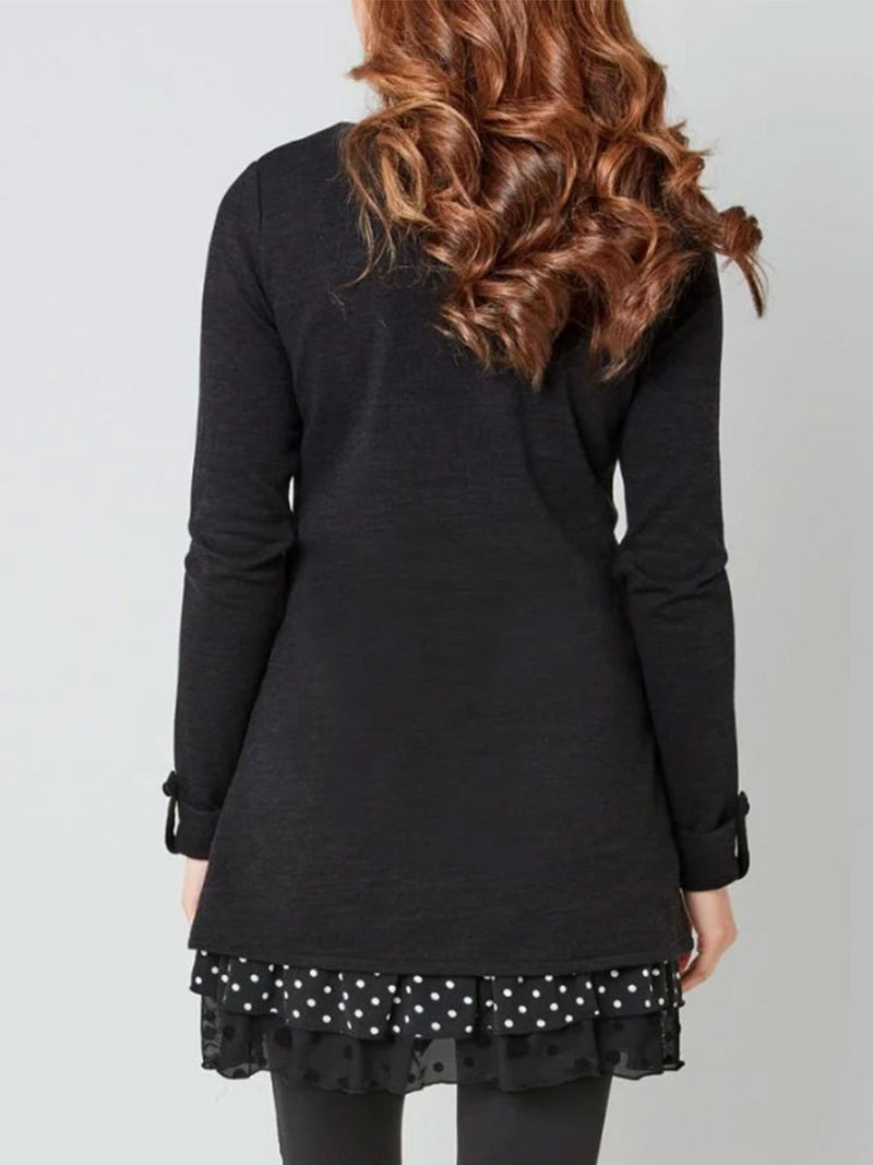 High-necked Dot Print Stitching Sleeve Long-sleeved Long T-shirt