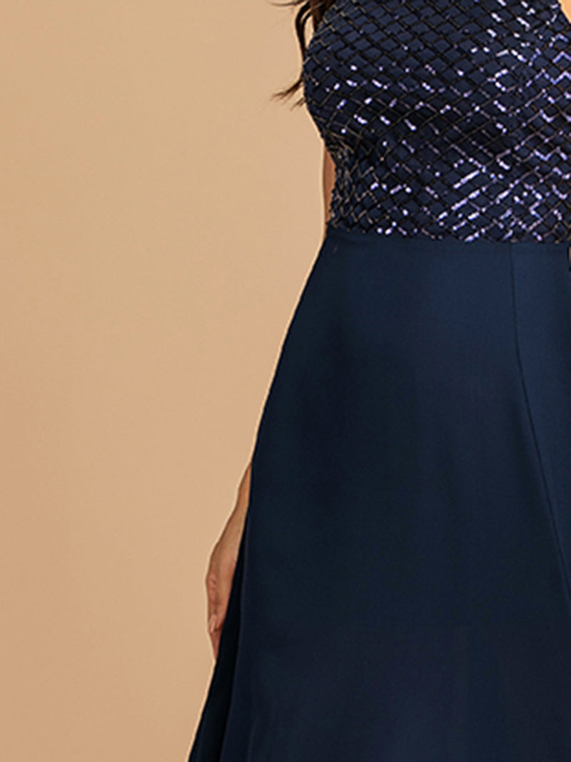 Sequin Embroidery Straps Slitted Sleeveless Evening Dress