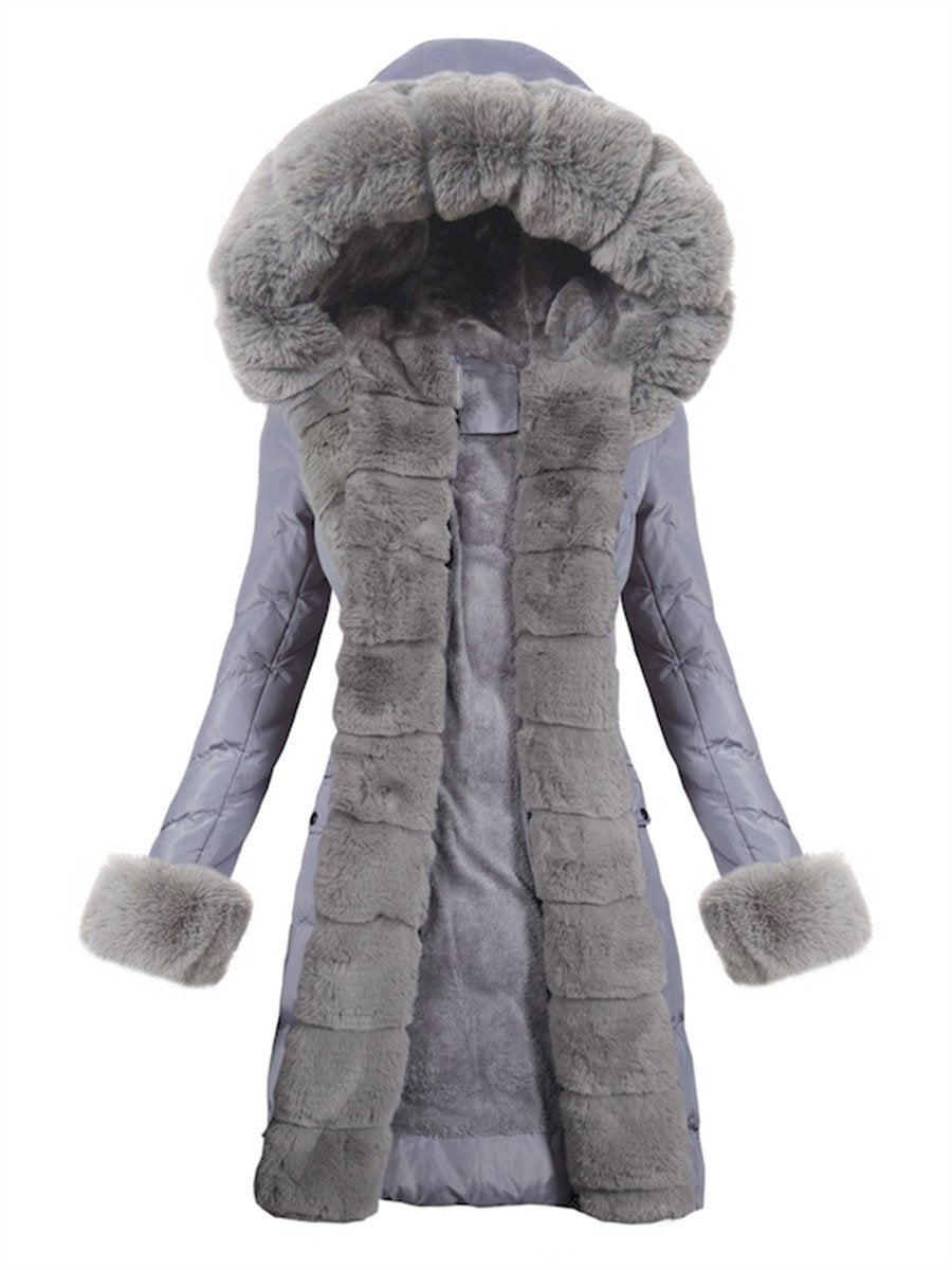 Solid Color Fur Collar Stitching Decorative Cuff Coats
