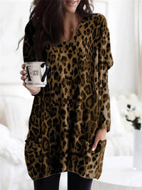 Sexy V-Neck Casual Leopard Print Long-Sleeved Loose T-Shirt