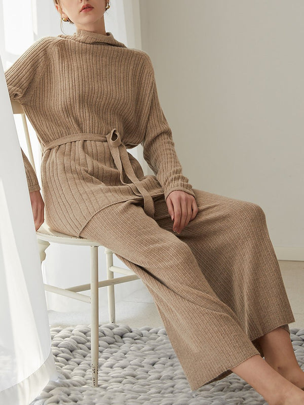 Autumn And Winter Loose Casual High Collar Suit Women'S Knitted Sweater Two-Piece