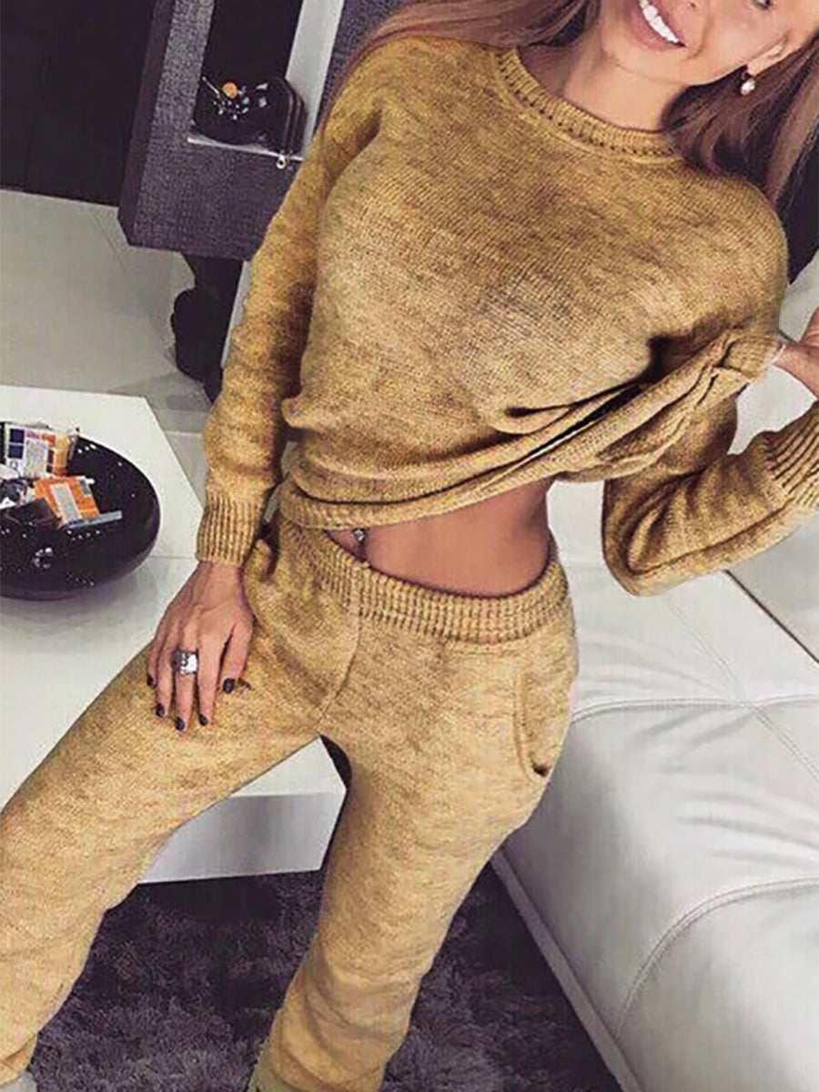 Knitted Warm Two Pieces Pants Set Plus Size Suits