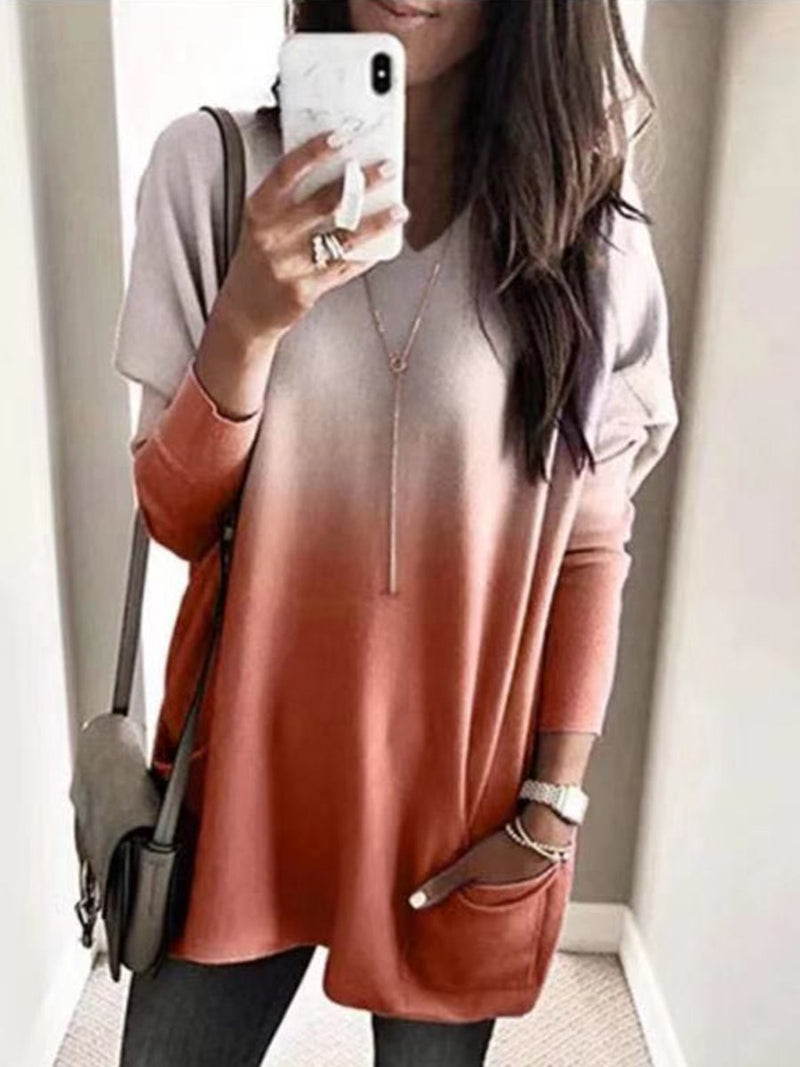 Casual Print Round-Necked Long-Sleeved Top