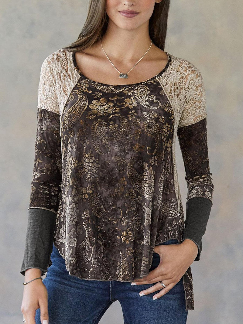 Casual Lace Sleeve Round Neck Top