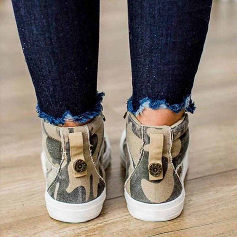Plus Size Canvas Camouflage Flat Heel Ankle Boots