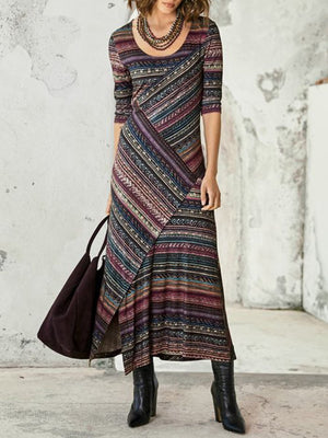 Vintage Ethnic Print Featuring A Dress