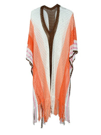 Hollow Fringed Shawl Beach Cover-ups