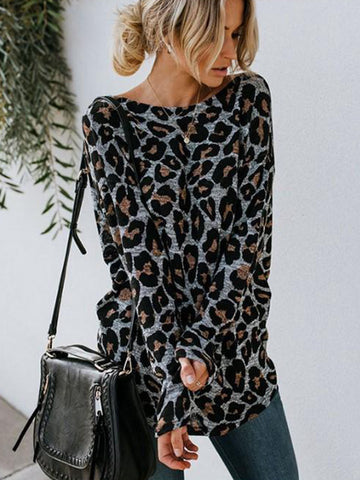 Sexy Leopard Printed Back Open Back Long Sleeve T-Shirt Casual Top