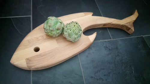 GIANT SERVING/CHEESE BOARD. Solid oak. Fish shaped