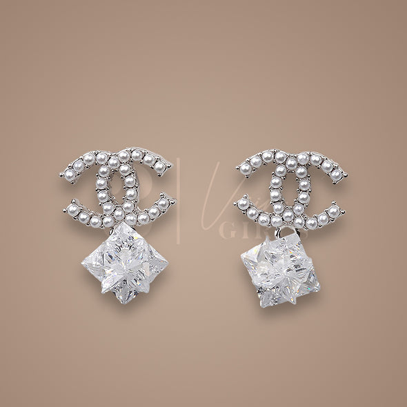 Pearled Crystal Drop Earrings