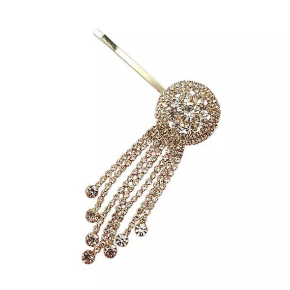 Round Gold Rhinestone Tassel Hair Pin