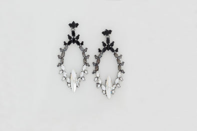Oval Black and Crystal Statement Earrings (Black & Clear)