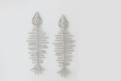 Rhinestone Fishbone Drop Earrings (Silver)