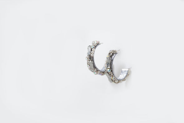 Romantic Jeweled hoop Earrings (Silver)