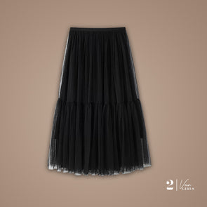 Midi Tulle Skirt (Black)