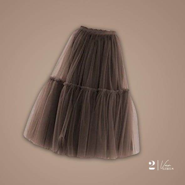 Midi Tulle Skirt (Brown)