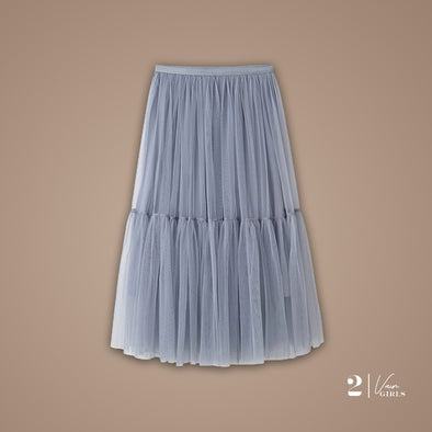 Midi Tulle Skirt (Gray)