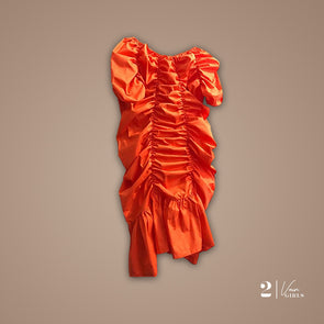 Voluminous Off-Shoulder Ruched Dress (Orange)