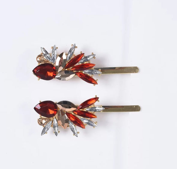 Red Crystal Starburst Hairpins