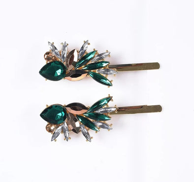 Green Crystal Starburst Hairpins