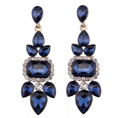 Blue Luxury Crystal Drop Earrings